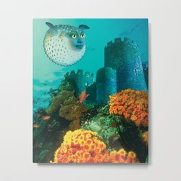 Pufferfish Girl Metal Print