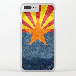 State flag of Arizona in Vintage Grunge Clear iPhone Case