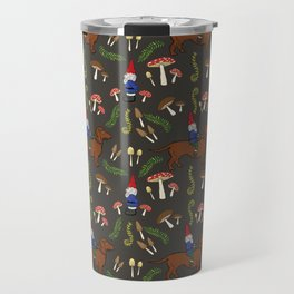 GNOME & DACHSHUND IN THE MUSHROOM FOREST/SOFT BLACK BACKGROND Travel Mug