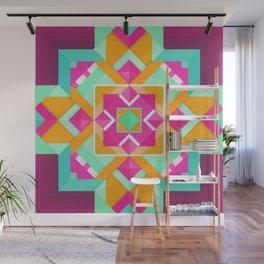 Geometric Tribal Mandala Inspired Modern Trendy Vibrant (Mint Green, Maroon, Wine, Hot Pink, Orange) Wall Mural