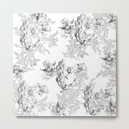 PEACOCK LILY TREE AND LEAF TOILE GRAY AND WHITE PATTERN Metal Print
