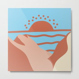 Sunset Over the Mountains Metal Print