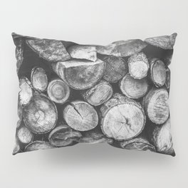 Logs of fire wood | Black and White | Lumber | Nature | By Magda Opoka Pillow Sham