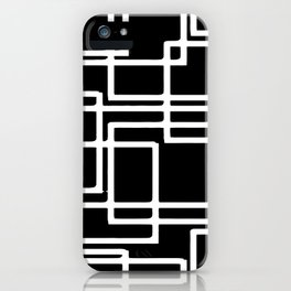 Interlocking White Squares Artistic Design iPhone Case