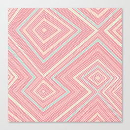 Pink, Green, Yellow, and Peach Lines - Illusion Canvas Print