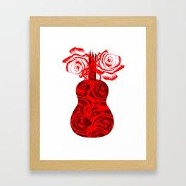 Red Flower Design Acoustic Guitar Music Guitarist Framed Art Print