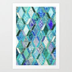 Sapphire & Emerald Diamond Patchwork Pattern Art Print