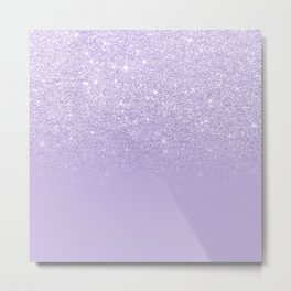 Stylish purple lavender glitter ombre color block Metal Print