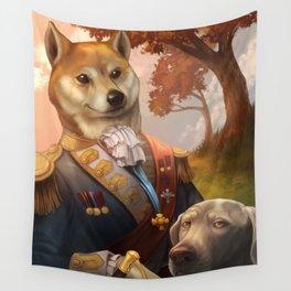Royal Shiba Dog Portrait Wall Tapestry