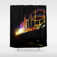 santa monica Shower Curtains featuring Santa Monica Pier by Sa-Foto