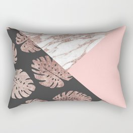 Blush Pink Rose Gold Marble Swiss Cheese Leaves Rectangular Pillow