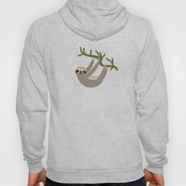 Three-toed sloth on green branch blue background Hoody