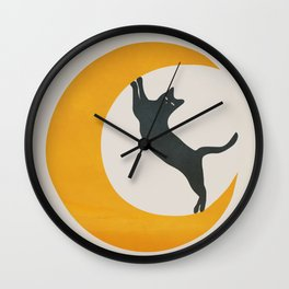 Moon and Cat Wall Clock