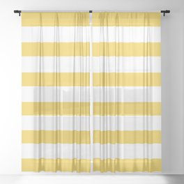 Pollen Yellow Stripes on White Sheer Curtain
