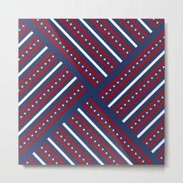 Patriotic red white blue stars Metal Print