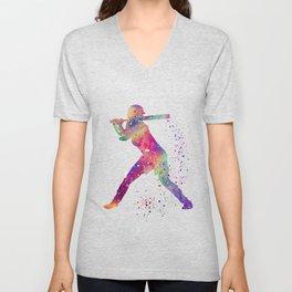 Girl Baseball Player Softball Batter Colorful Watercolor Art Unisex V-Neck