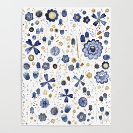 Indigo Flower Mashup Poster