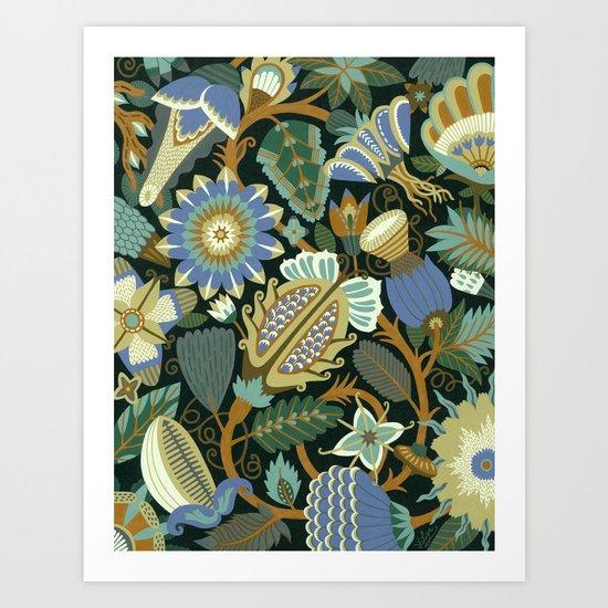 Flower Fantasy in blue Art Print