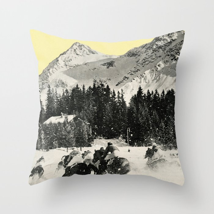 Winter Races Throw Pillow