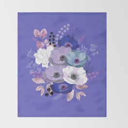 Anemones & Gardenia Blue bouquet Throw Blanket