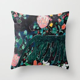 Sunday Neon Night Jungle Throw Pillow