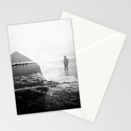Alone on Cannon Beach - Film Double Exposure with Haystack Rock Stationery Cards