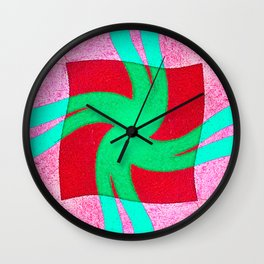 Colorful red and green spiral swirling elliptical constellation star galaxy abstract design Wall Clock