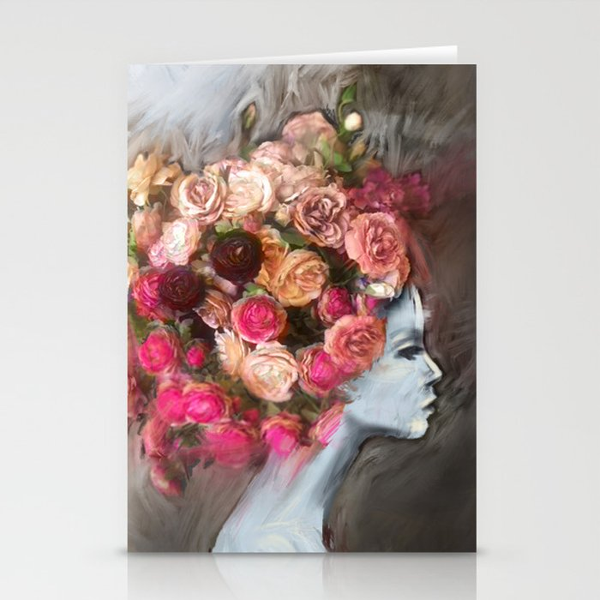 Flower Bloom Girl Stationery Cards