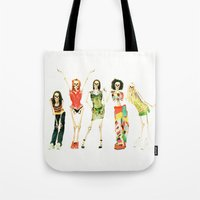 spice girls Tote Bags featuring Spice Skulls Tee! by Eric Terino