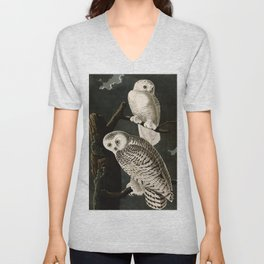 Snowy Owl Vintage Bird Illustration - Audubon Unisex V-Neck