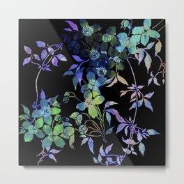 garland of flowers black version Metal Print