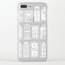 Moroccan Doors – White Ink on Black Clear iPhone Case