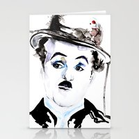 charlie chaplin Stationery Cards featuring Charlie Chaplin by Anastasia Efthias