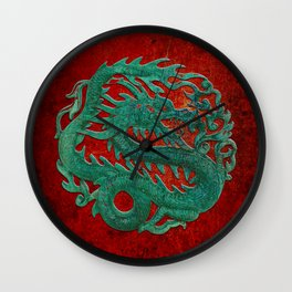 Wooden Jade Dragon Carving on Red Background Wall Clock