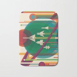 NASA Retro Space Travel Poster #5 Bath Mat