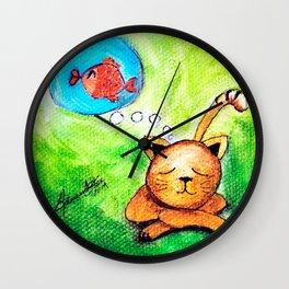 Yellow Cat dreaming  Wall Clock