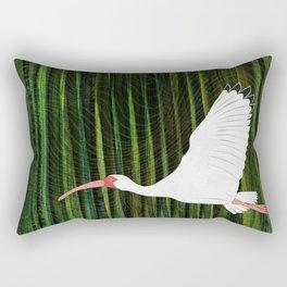 American White Ibis In Flight Rectangular Pillow