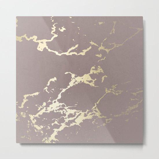 Kintsugi Ceramic Gold on Red Earth Metal Print