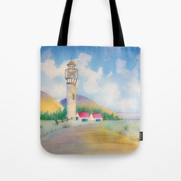 Lighthouse by the sea watercolor Tote Bag