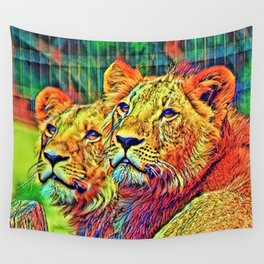 AnimalColor_Lion_006_by_JAMColors Wall Tapestry