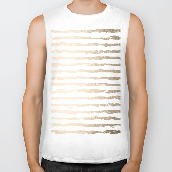 Simply Brushed Lines White Gold Sands on White Biker Tank