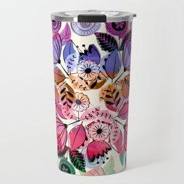 Pink and indigo flower pattern Travel Mug