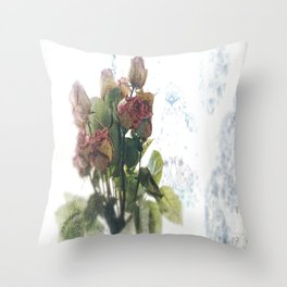 A VINTAGE ROSE by Christy Michelle Ploch Throw Pillow