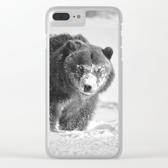 Alaskan Grizzly Bear in Snow, B & W - 3 Clear iPhone Case