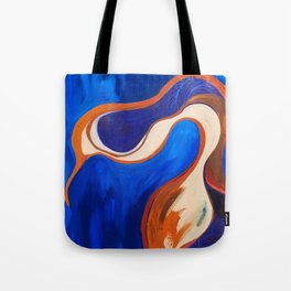 Abstract Blue and Orange Bird Tote Bag