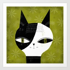 GREEN EYED CAT Art Print