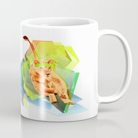fitness Mugs featuring Lioness fitness by veronica ∨∧