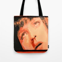 mia wallace Tote Bags featuring Mia Wallace by yayanastasia