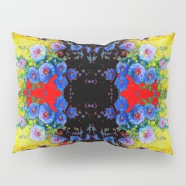 YELLOW GARDEN GOLD BLUE FLOWERS BLACK  PATTERN ART Pillow Sham