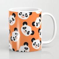 pandas Mugs featuring Happy Pandas by Sara Showalter
